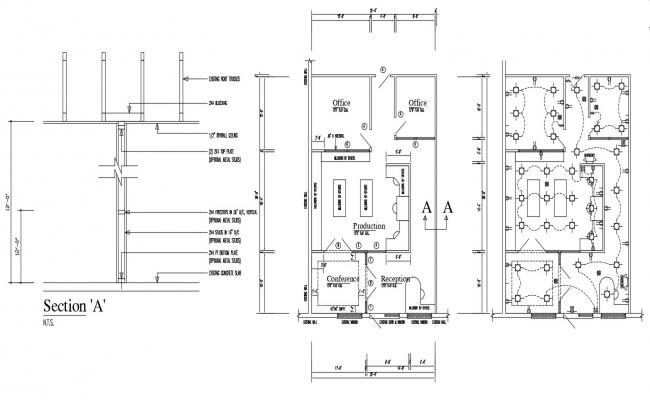 Office Design 2d AutoCAD Drawing Plan