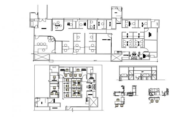 Office Layout Plan In AutoCAD Drawing