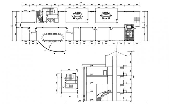 Office Layout Plan and Section AutoCAD File
