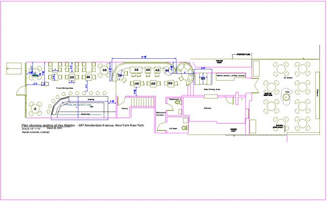 Office Madison avenue plan with seating area dwg file