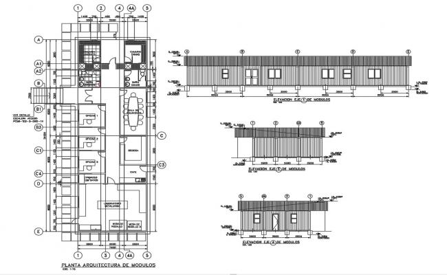 Office Plan Layout With Dimension DWG File