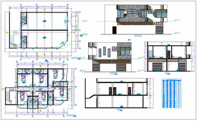 Office Residence detail drawing with elevation design