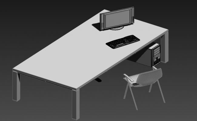 Office Table With Chair And Computer 3D MAX File Free