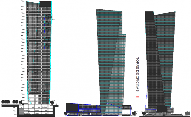 Office Tower of 100meters height dwg file