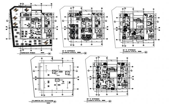 Office With Apartment Floor Plan AutoCAD File