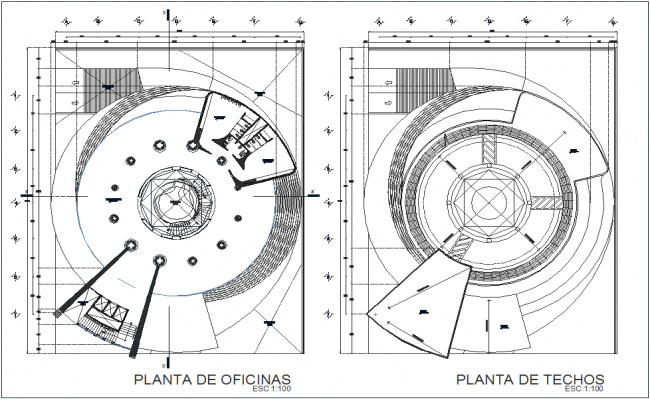 Office and ceiling plan of corporate building dwg file