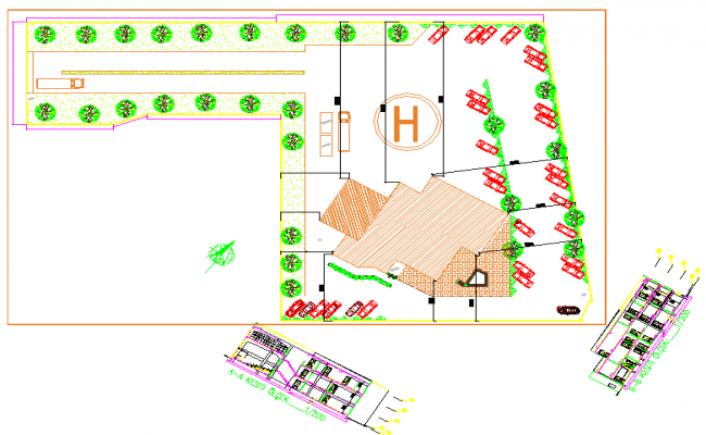 Office and seminary center dwg file