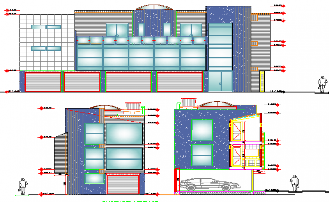 Office and shop building front and side elevation details dwg file