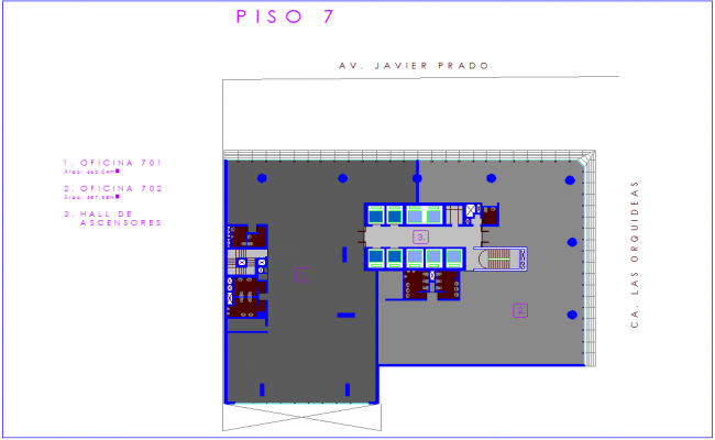 Office architectural plan for seventh floor dwg file