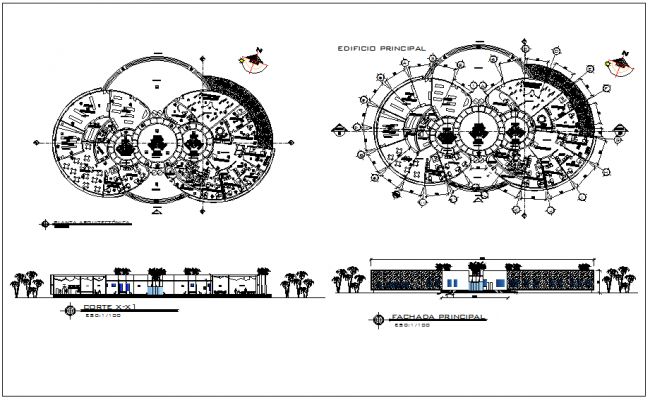 Office architecture plan view detail,  foundation plan view dwg file