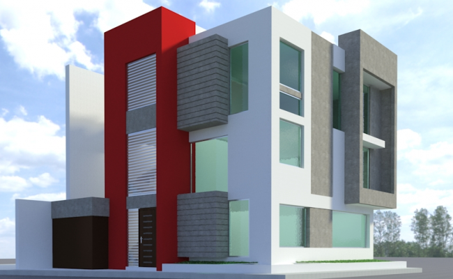 Office building 3 D view detail dwg file