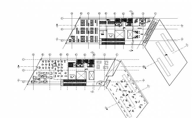 Office building First floor plan and second floor detail dwg file