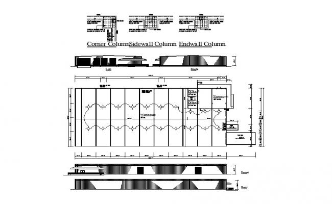 Office building all sided elevation, framing plan and column details dwg file