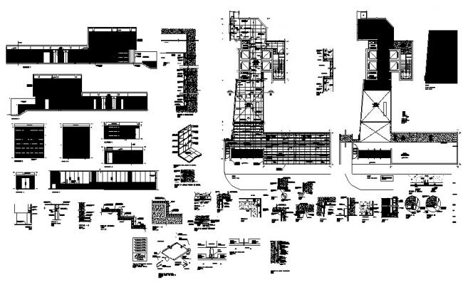 Office building all sided elevation and construction details dwg file