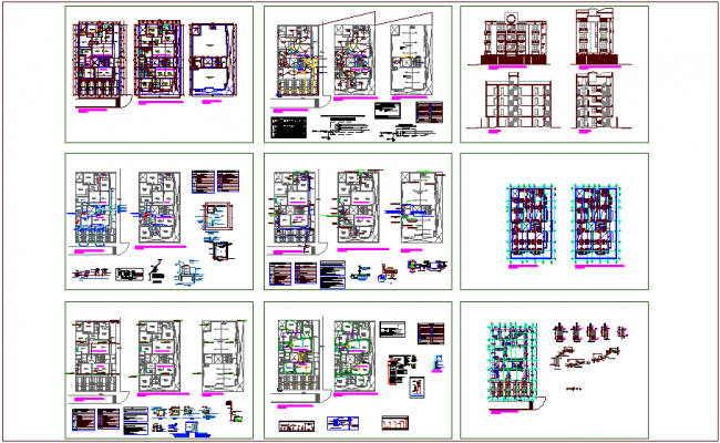Office building architectural,hydraulic,electrical,sanitary plan,elevation and section view with structural detail dwg file