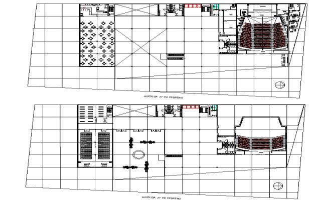 Office building auditorium conf room bar restaurant plan detail dwg file