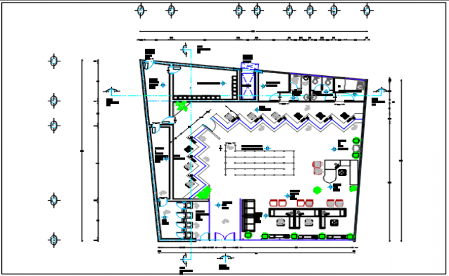 Office building center line plan detail dwg file
