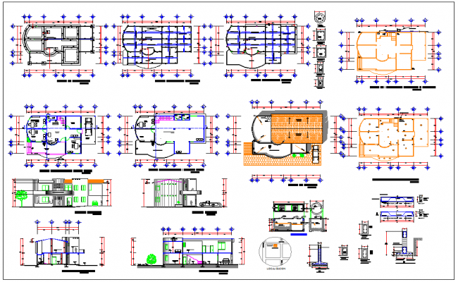 Office building common offices property plan layout detail dwg file