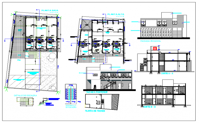 Office building detail view dwg file