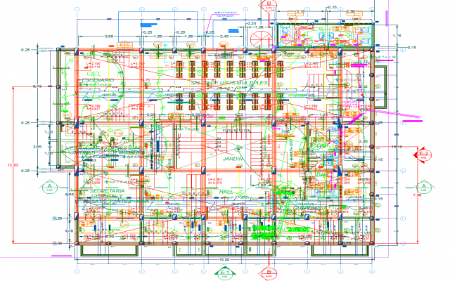 Office building electric plan layout and plan layout view detail dwg file