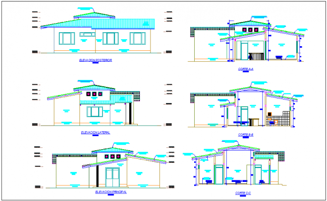 Office building elevation and different axis section view dwg file