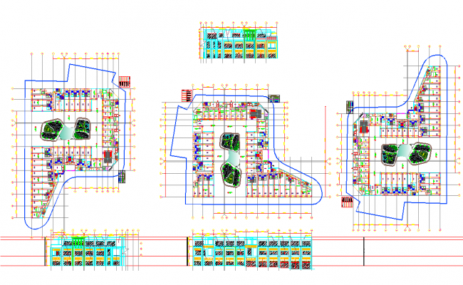 Office building elevation and plan vie detail dwg file