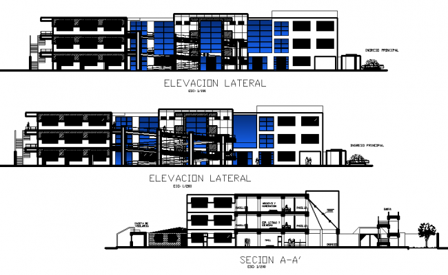 Office building elevation and section plan detail dwg