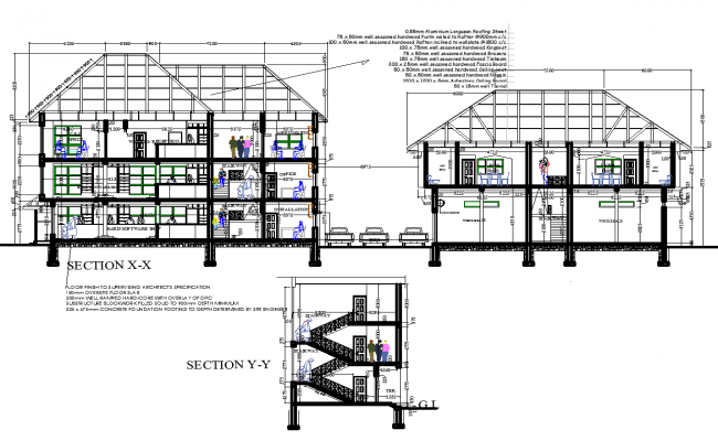 Office building elevation and section view detail dwg file
