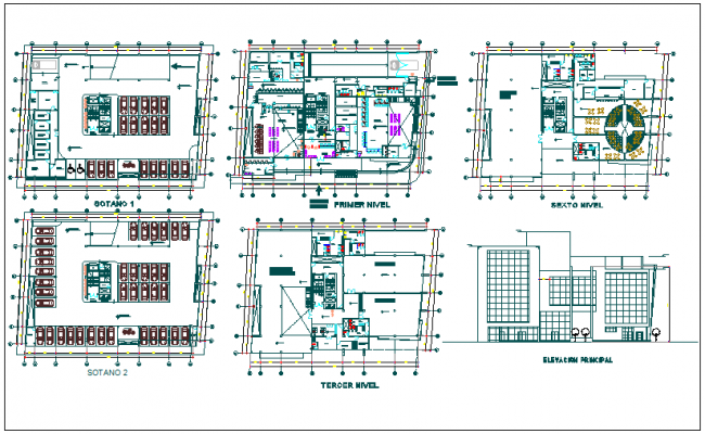 Office building floor plan detail and foundation plan layout detail ...