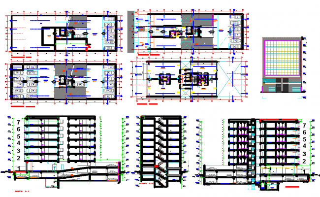Office building floor plan detail and section view detail dwg file