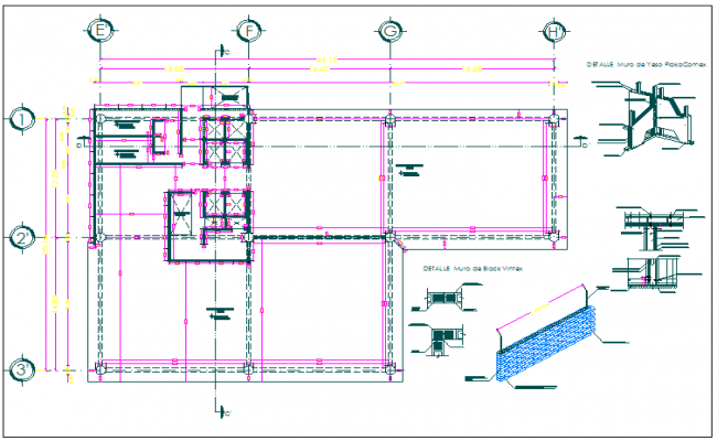 Office building floor plan detail and structure detail view dwg file