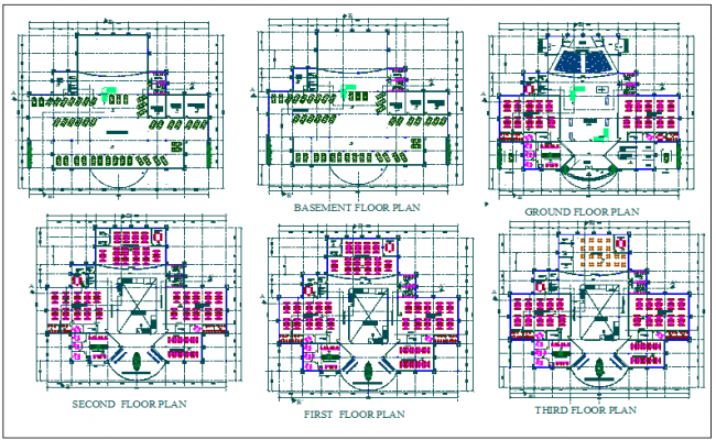 Office building floor plan detail view dwg file