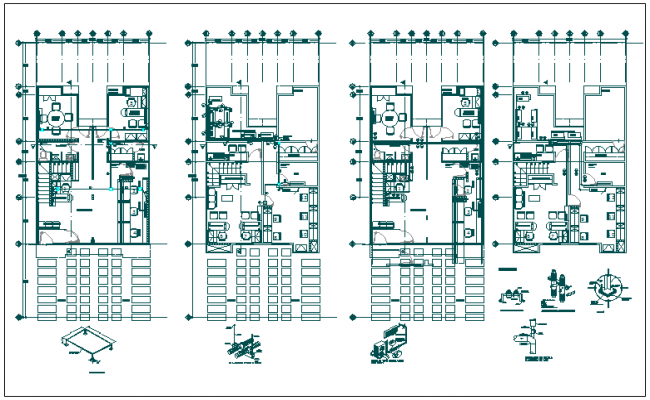 Office building floor plan detail view dwg file