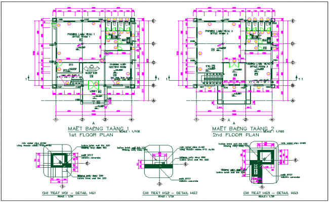 Office building floor plan layout detail view dwg file