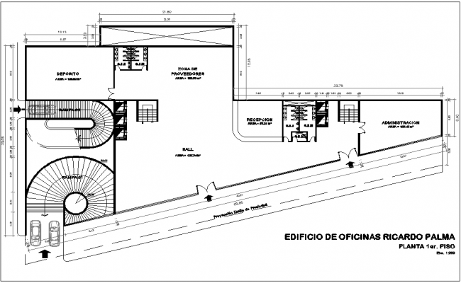 Office building floor plan view dwg file