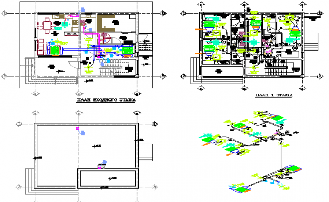 Office building floors general layout and isometric view details dwg file