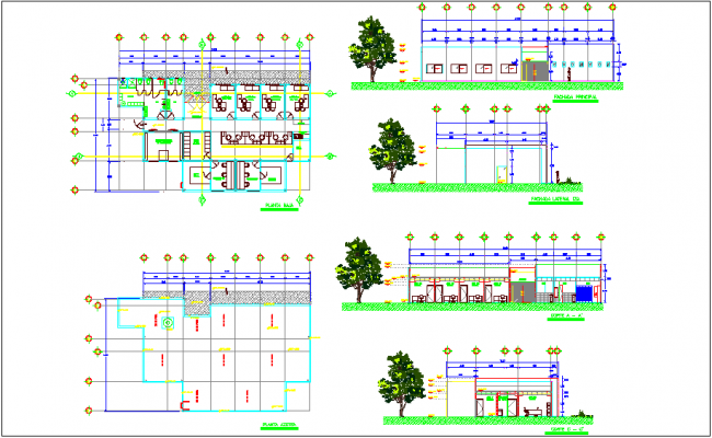 Office building plan,elevation and section view dwg file