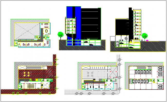 Office building plan and elevation dwg file