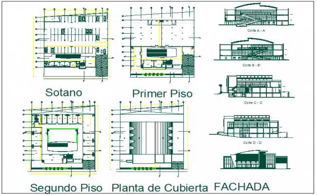Office building plan detail view dwg file