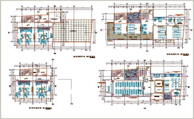 Office building plan detail view, design plan layout detail view dwg file