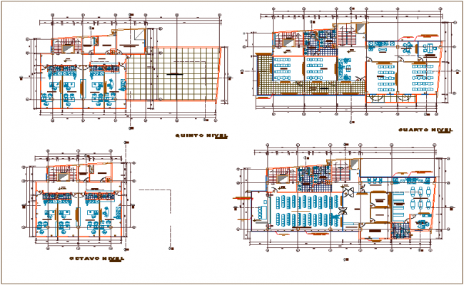 Office building plan detail view with design plan layout detail view dwg file