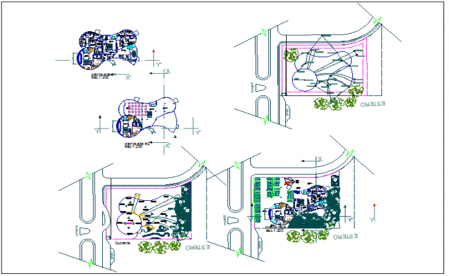 Office building plan detail view with surveying data dwg file