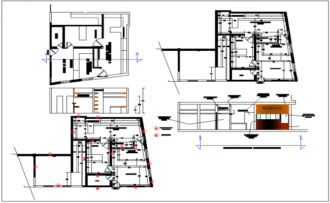 Office building plan elevation section view detail dwg file