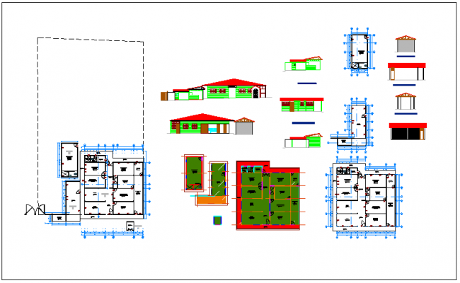 Office building plan section & elevation view detail information dwg file
