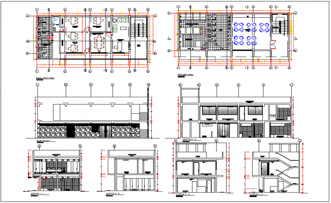 Section Elevation Plan View : Office building plan view and elevation section
