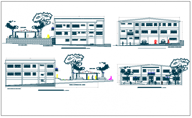 Office building plan view detail dwg file