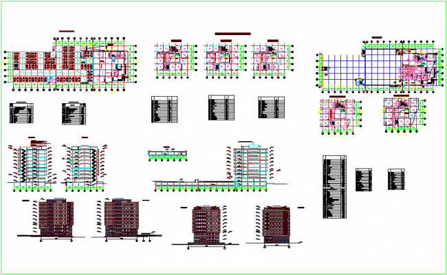 Office building plan with elevation dwg file