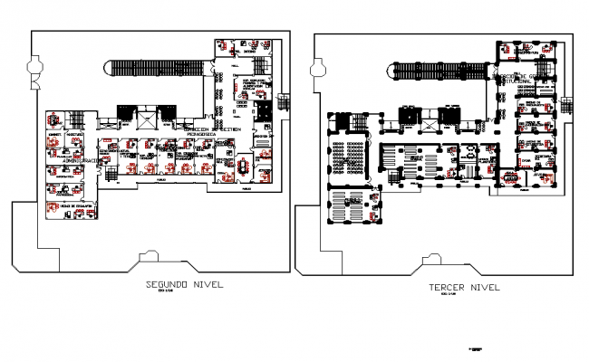Office building second-floor plan and terrace plan detail dwg file