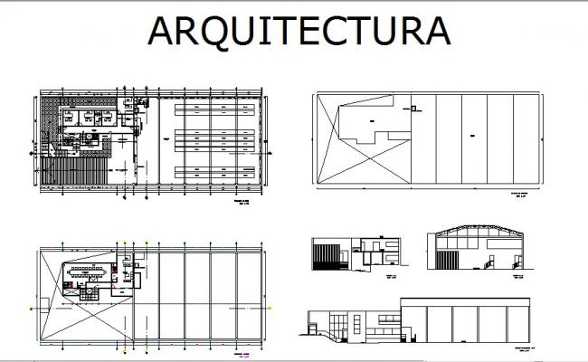 Office building section, distribution plan and auto-cad details dwg file