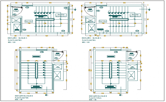 Office building stair plan view detail dwg file for House plans with two sets of stairs
